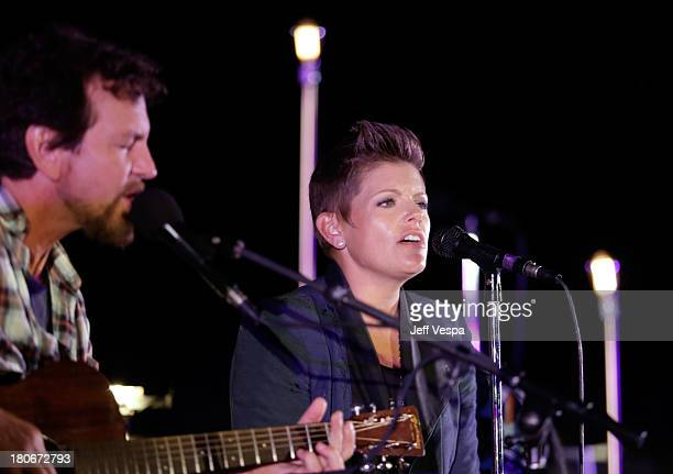 Eddie Vedder and Natalie Maines perform onstage during Eddie Vedder and Zach Galifianakis Rock Malibu Fundraiser for EBMRF and Heal EB on September...