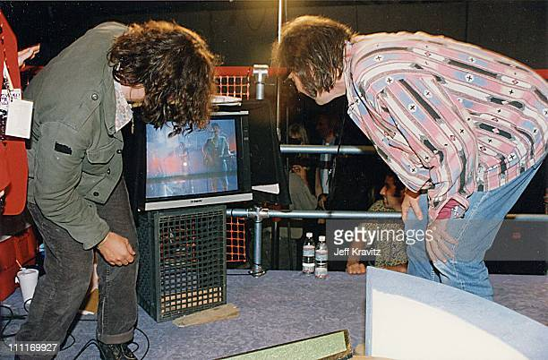 Eddie Vedder and Neil Young during 1993 MTV Video Music Awards in Los Angeles California United States