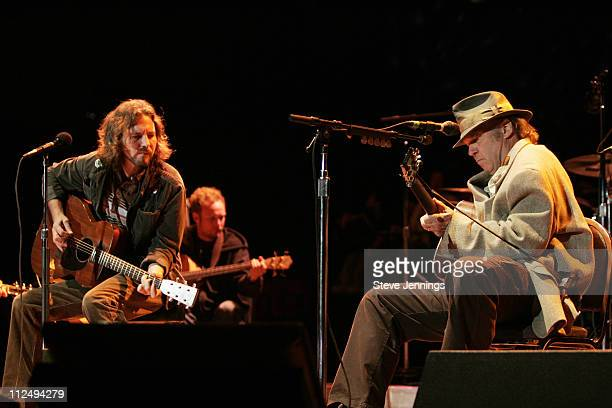 Eddie Vedder and Neil Young during 20th Annual Bridge School Benefit Concert Day One at Shoreline Amphitheatre in Mountain View California United...