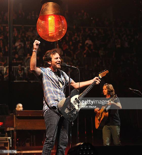 Eddie Vedder and Stone Gossard of Pearl Jam perform at Barclays Center of Brooklyn on October 18 2013 in New York City