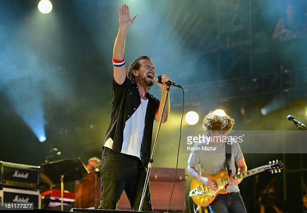Eddie Vedder and Stone Gossard of Pearl Jam perform during Budweiser Made In America Festival Benefiting The United Way Day 2 at Benjamin Franklin...
