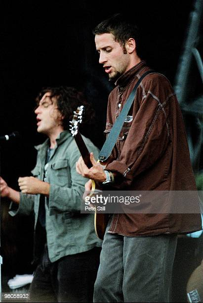 Eddie Vedder and Stone Gossard of Pearl Jam perform on stage in Finsbury Park on July 11th 1993 in London England