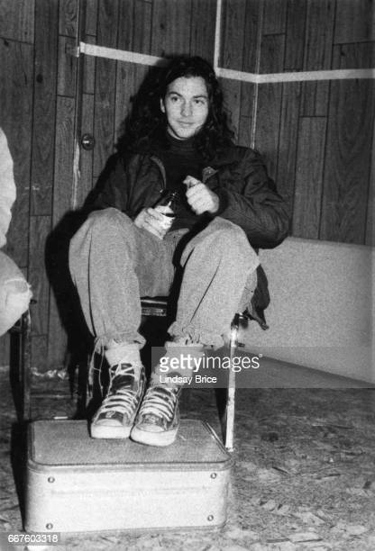 LOS ANGELES January 24 Pearl Jam Rock for Choice Hollywood Palladium Black and white view of Eddie Vedder relaxing backstage after performing with...