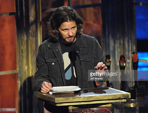 Eddie Vedder inducts REM during 22nd Annual Rock and Roll Hall of Fame Induction Ceremony Show at Waldorf Astoria in New York City New York United...