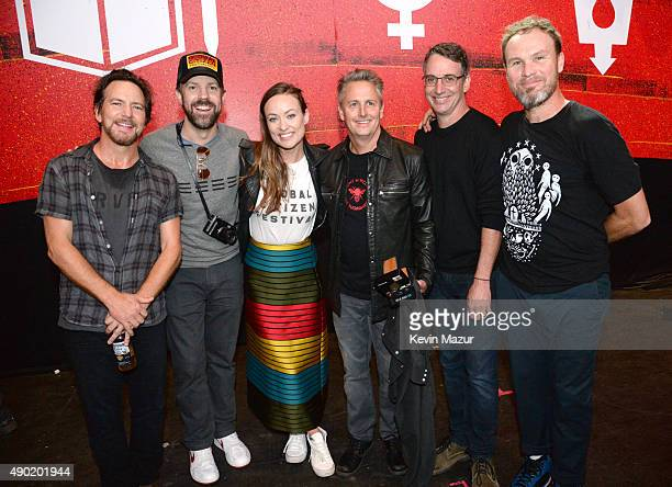 Eddie Vedder Jason Sudeikis Olivia Wilde Mike McCready Stone Gossard and Jeff Ament attend 2015 Global Citizen Festival to end extreme poverty by...