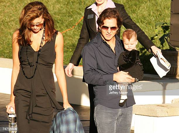 Eddie Vedder Jill McCormick and Olivia Vedder at the Hollywood Forever Cemetery in Hollywood California