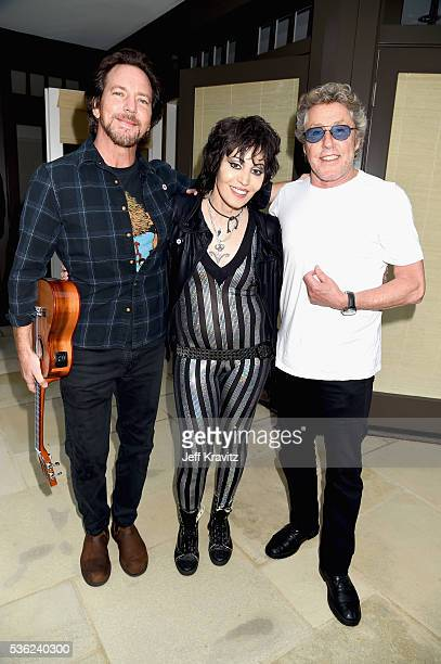 Eddie Vedder Joan Jett and Roger Daltrey attend WHO Cares About The Next Generation at a private residence on May 31 2016 in Pacific Palisades City