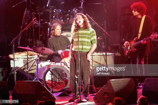 Eddie Vedder John Densmore And Don Was at The 1993 Rock And Roll Hall of Fame at The Century Plaza on January 12th 1993 in Los Angeles CA