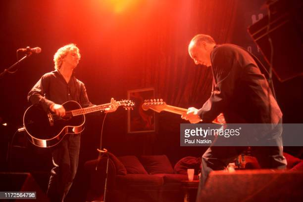 Eddie Vedder left of Pearl Jam and Pete Townshend of The Who perform on stage at the House of Blues at a benefit for the Maryville Academy Chicago...