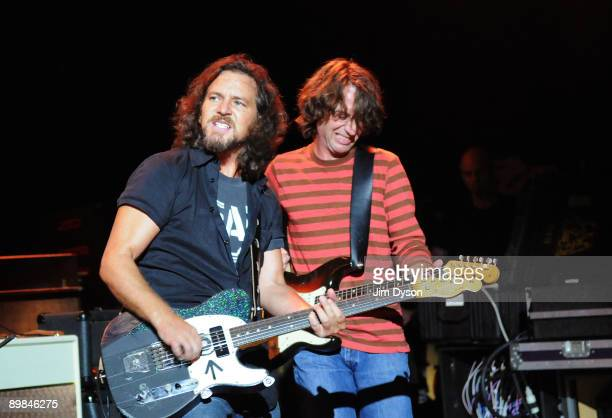 Eddie Vedder of American rock group Pearl Jam performs at Shepherd's Bush Empire on August 11 2009 in London England
