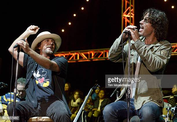 Eddie Vedder of Pearl Jam and Chris Cornell perform during the 28th annual Bridge School Benefit at Shoreline Amphitheatre on October 26 2014 in...