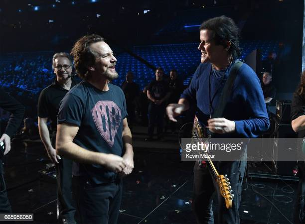Eddie Vedder of Pearl Jam and Trevor Rabin of Yes and attend 32nd Annual Rock Roll Hall Of Fame Induction Ceremony at Barclays Center on April 7 2017...