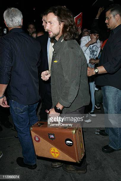 Eddie Vedder of Pearl Jam during Lindsay Lohan Hosts Saturday Night Live After Party April 16 2006 at Heartland Brewery in New York City New York...