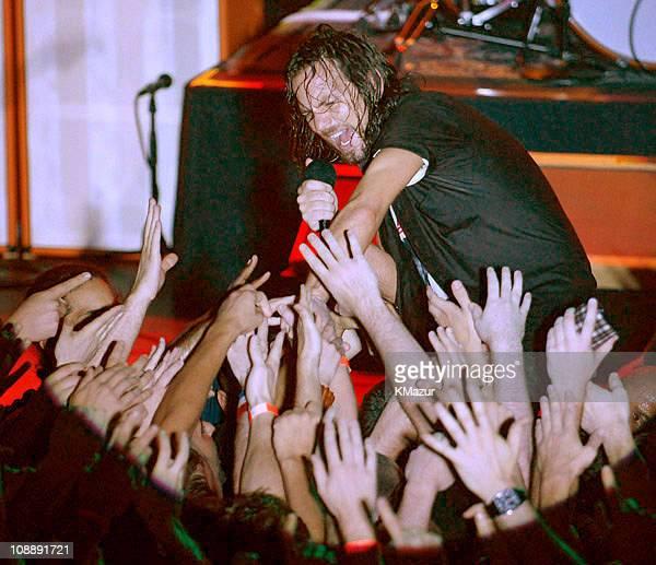Eddie Vedder of Pearl Jam during Pearl Jam Super Secret Concert at Irving Plaza in New York City May 5 2006 at Irving Plaza in New York City New York...