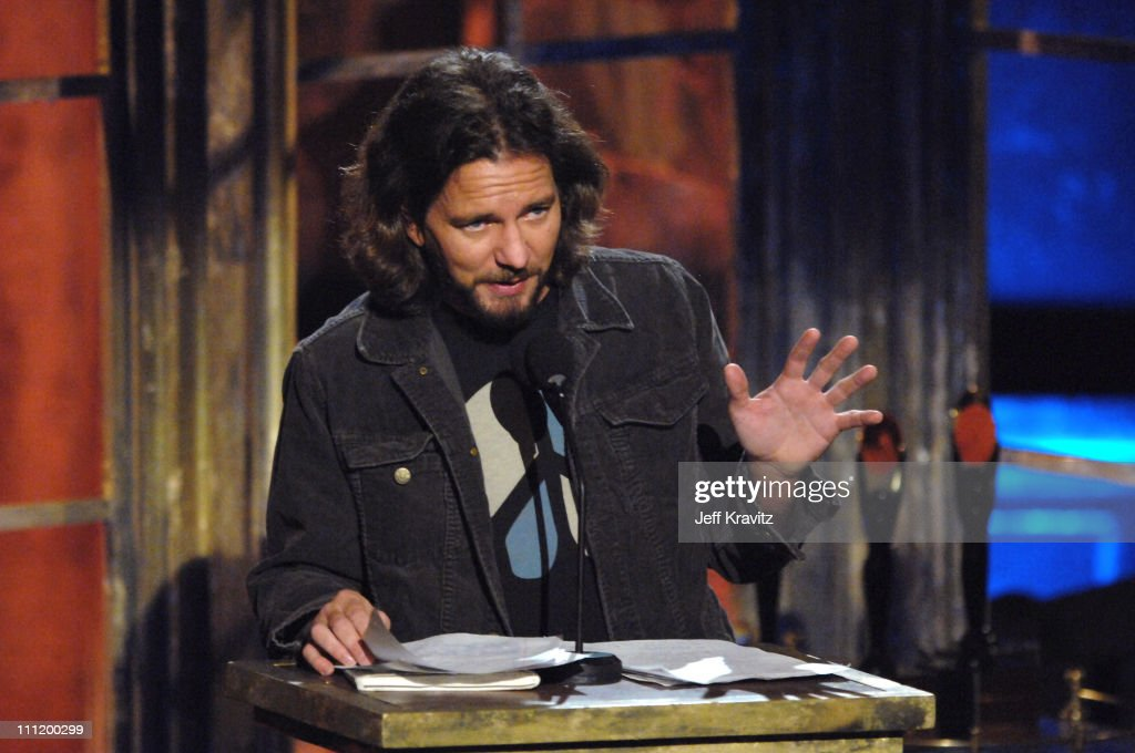 Eddie Vedder of Pearl Jam inducts R.E.M. during 22nd Annual Rock and Roll Hall of Fame Induction Ceremony - Show at Waldorf Astoria in New York City, New York, United States.