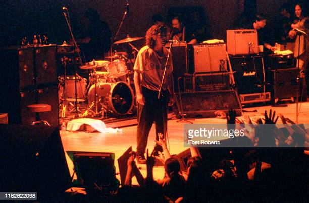 Eddie Vedder of Pearl Jam performs as part of the Voters For Choice benefit concert at DAR Constitution Hall in Washington DC on January 14 1995