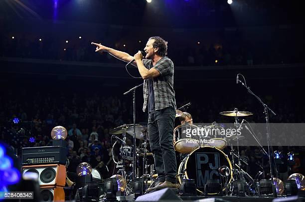 Eddie Vedder of Pearl Jam performs at Wells Fargo Center on April 29 2016 in Philadelphia Pennsylvania