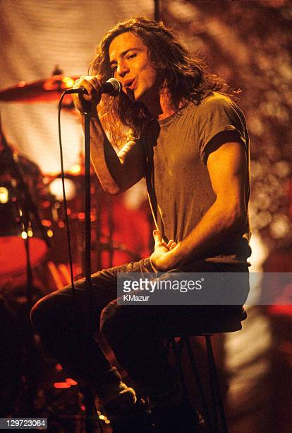 Eddie Vedder of Pearl Jam performs during Pearl Jam MTV Unplugged at Kaufman Astoria Studios on March 16 1992 in New York City