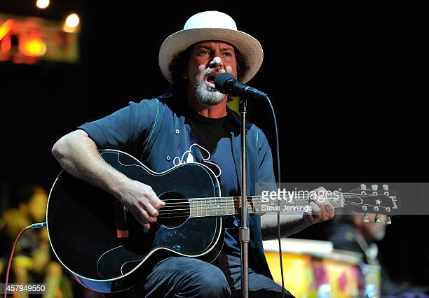 Eddie Vedder of Pearl Jam performs on Day 2 at the 28th Annual Bridge School Benefit Concert at Shoreline Amphitheatre on October 26 2014 in Mountain...