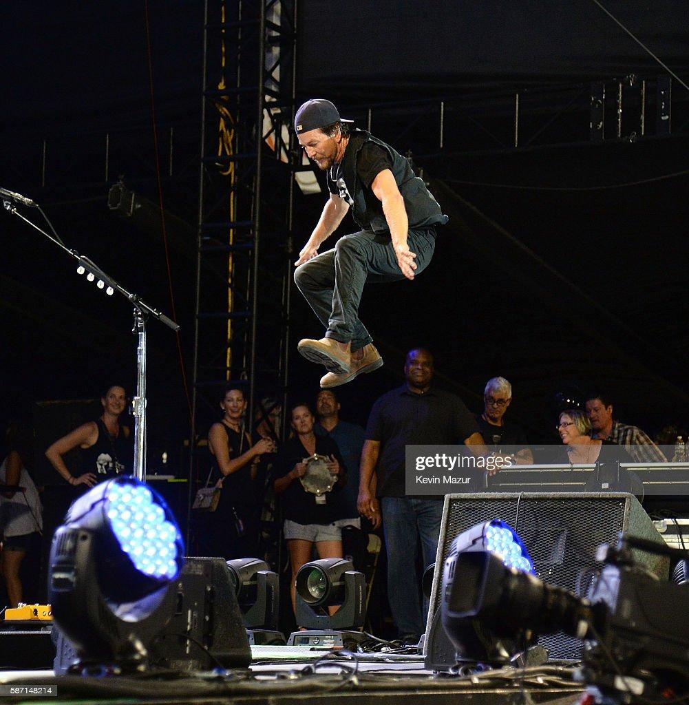 Eddie Vedder of Pearl Jam performs on stage at Fenway Park on August