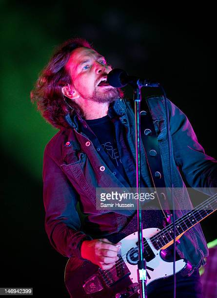 Eddie Vedder of Pearl Jam performs on the main stage as the headlining act on day 3 of The Isle of Wight Festival at Seaclose Park on June 23 2012 in...