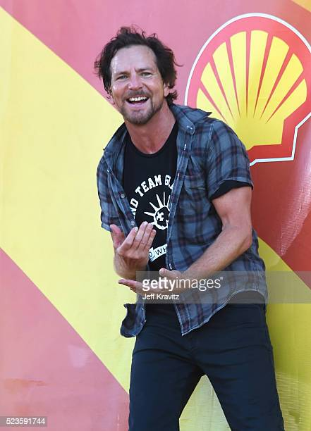 Eddie Vedder of Pearl Jam performs onstage at the 2016 New Orleans Jazz Heritage Festival at Fair Grounds Race Course on April 23 2016 in New Orleans...