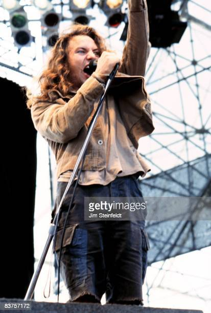 Eddie Vedder of the band Pearl Jam performs at Lollapalooza at Harriet Island in Saint Paul Minnesota on August 28 1992