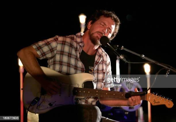 Eddie Vedder peforms at Eddie Vedder and Zach Galifianakis Rock Malibu Fundraiser for EBMRF and Heal EB on September 15 2013 in Malibu California
