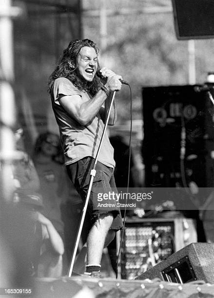 Eddie Vedder performs Aug 5 1992 with Pearl Jam at Lollapalooza '92 in Barrie ON