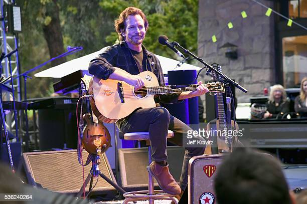 Eddie Vedder performs onstage at WHO Cares About The Next Generation at a private residence on May 31 2016 in Pacific Palisades City