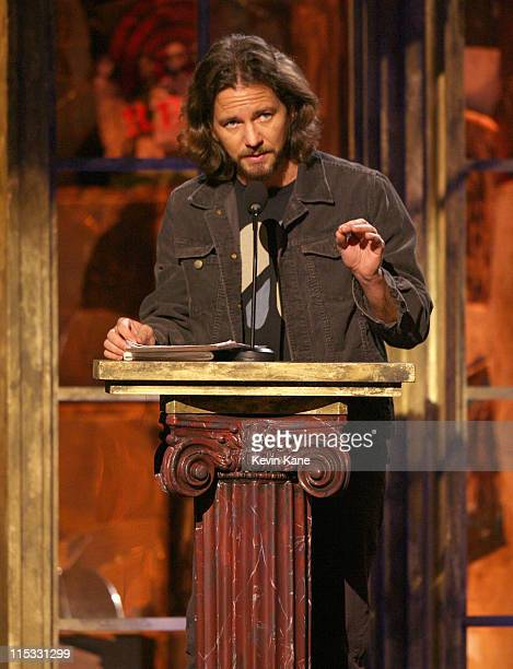 Eddie Vedder presents REM during 22nd Annual Rock and Roll Hall of Fame Induction Ceremony Show at Waldorf Astoria in New York City New York United...