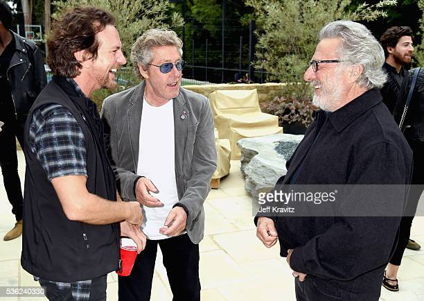 Eddie Vedder Roger Daltrey and Dustin Hoffman attend WHO Cares About The Next Generation at a private residence on May 31 2016 in Pacific Palisades...