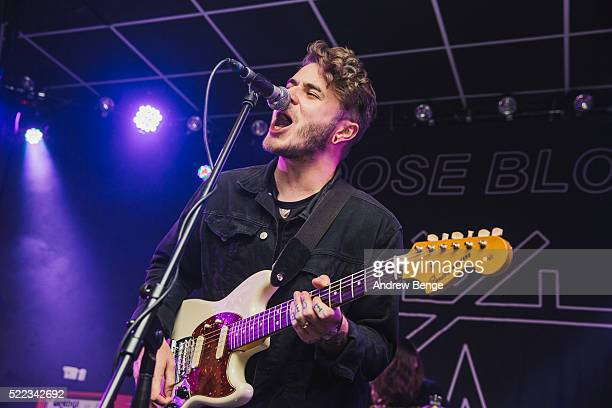 Eddy Brewerton of Moose Blood performs on stage at Brudenell Social Club on April 18 2016 in Leeds England