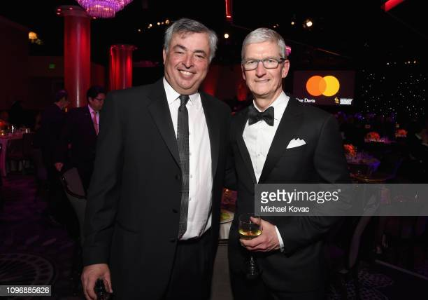 Eddy Cue and Tim Cook attend the PreGRAMMY Gala and GRAMMY Salute to Industry Icons Honoring Clarence Avant at The Beverly Hilton Hotel on February 9...