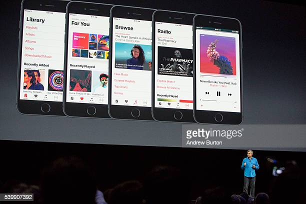 Eddy Cue Apple senior vice president of internet software and services helps introduce the new iOS software at an Apple event at the Worldwide...