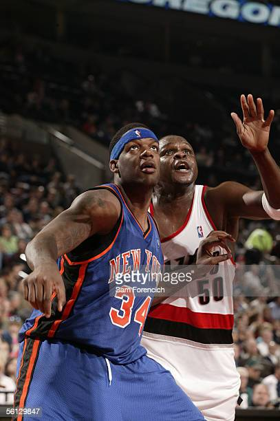 Eddy Curry of the New York Knicks guards for the rebound against Zach Randolph of the Portland Trail Blazers on November 9 2005 at the Rose Garden...