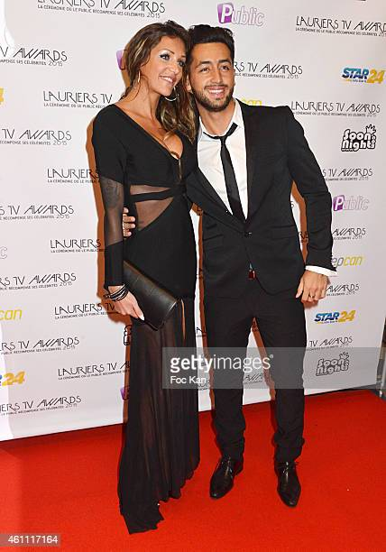 Eddy from Friends Trip and Julia from Friends Trip attend The 'Lauriers TV Awards 2015 Ceremony' Red Carpet Arrivals At La Cigale In Paris on January...