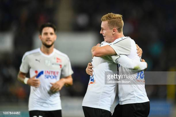 Marc Keller of Strasbourg and Bernard Joanin of Amiens during the Ligue 1 match between Strasbourg and Amiens at La Meinau Stadium on September 22...