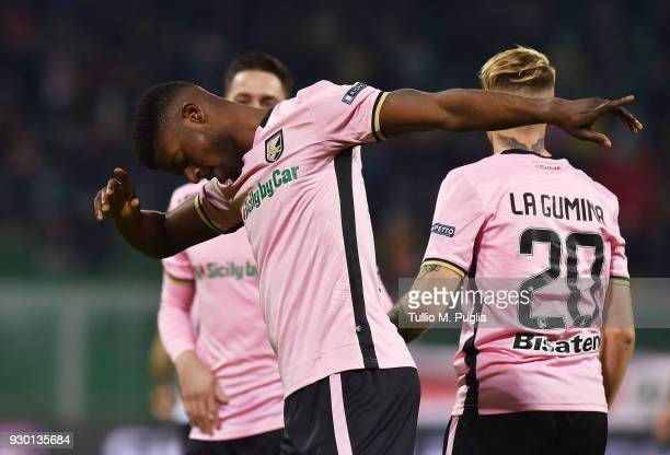 Eddy Gnahore' of Palermo celebrates after scoring the opening goal uring the serie B match between US Citta di Palermo and Frosinone at Stadio Renzo...