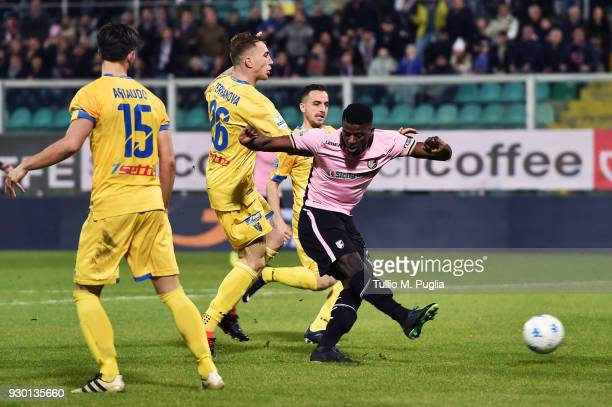 Eddy Gnahore' of Palermo scores the opening goal uring the serie B match between US Citta di Palermo and Frosinone at Stadio Renzo Barbera on March...