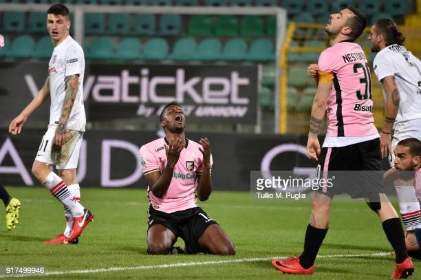 Eddy Gnahore' of Palermo shows his dejection after missing a goal during the Serie B match between US Citta di Palermo and Foggia at Renzo Barbera...