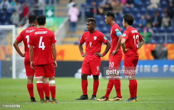 Eddy Kaspard of Tahiti along with team mates look dejected during the 2019 FIFA U-20 World Cup group A match between Tahiti and Senegal at Arena...