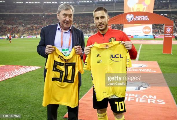 Eddy Merckx and Eden Hazard of Belgium exchange yellow jerseys to celebrate the start 'grand depart' of the Tour de France 2019 in Brussels next july...