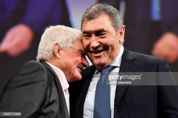 Eddy Merckx of Belgium Ex Procyclist and Raymond Poulidor Ex Procyclist during the 106th Tour de France 2019 Presentation / Le Palais des Congres /...