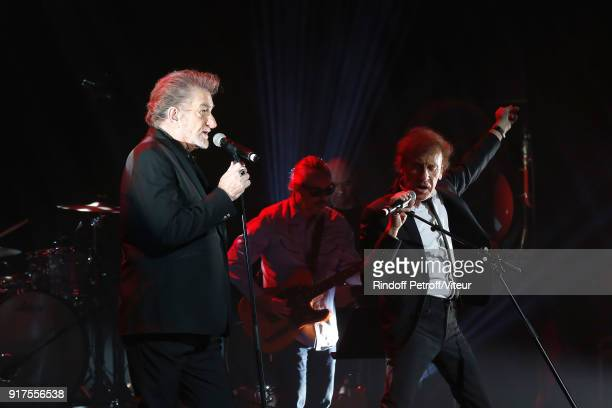 Eddy Mitchell and Alain Souchon perform during the Charity Gala against Alzheimer's disease at Salle Pleyel on February 12 2018 in Paris France