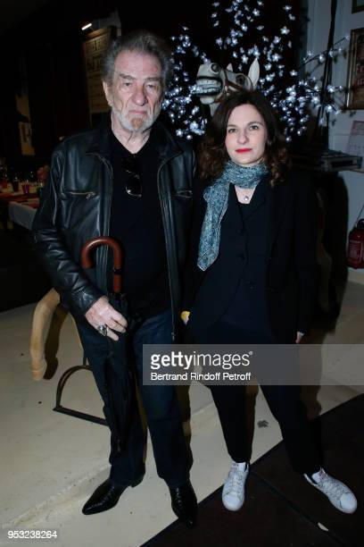 Eddy Mitchell and his daughter Pamela Mitchell attend the Dinner in honor of Nathalie Baye at La Chope des Puces on April 30 2018 in SaintOuen France