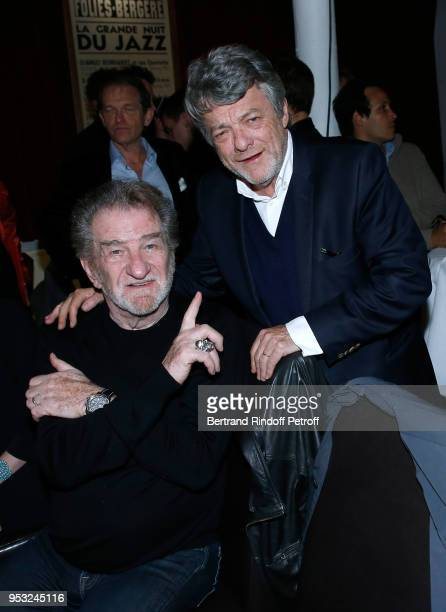 Eddy Mitchell and JeanLouis Borloo attend the Dinner in honor of Nathalie Baye at La Chope des Puces on April 30 2018 in SaintOuen France