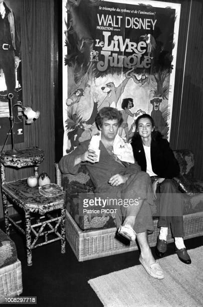 Eddy Mitchell et sa femme Muriel après le concert du chanteur au Palais des Sports de Paris le 25 mai 1982, France.
