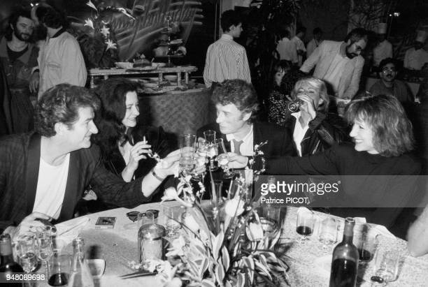 Eddy Mitchell his wife Muriel Johnny Hallyday Catherine Lara and Nathalie Baye after Hallyday's last performance at Zenith