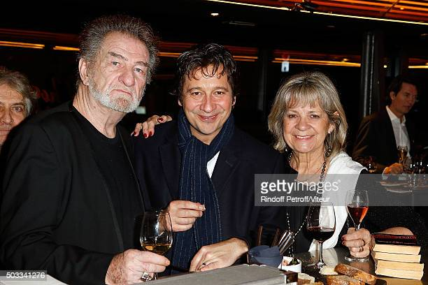 Eddy Mitchell Laurent Gerra and his mother Nicole celebrate Laurent's Birthday at Bistrot Alexandre III on December 29 2015 in Paris France